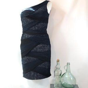 Tadashi Shoji One Shoulder Navy Sequin Lace Dress